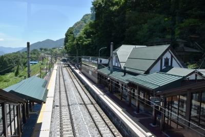 松本方面と左側に本線  姨捨駅
