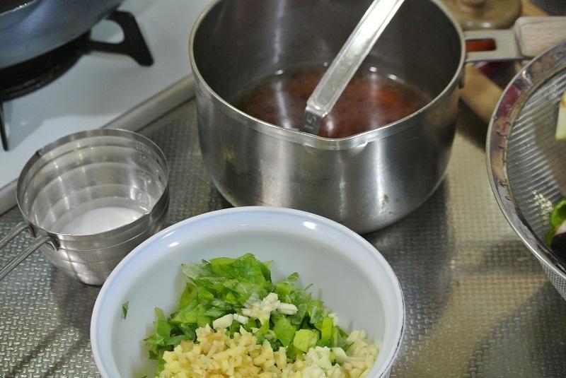 ナスの中華炒め薬味とタレ