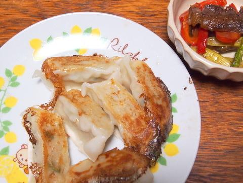 牛肉のオイスターソース炒めと餃子