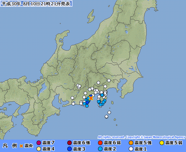 静岡県で最大震度3の地震発生 M4.5 震源地は駿河湾 深さ約20km