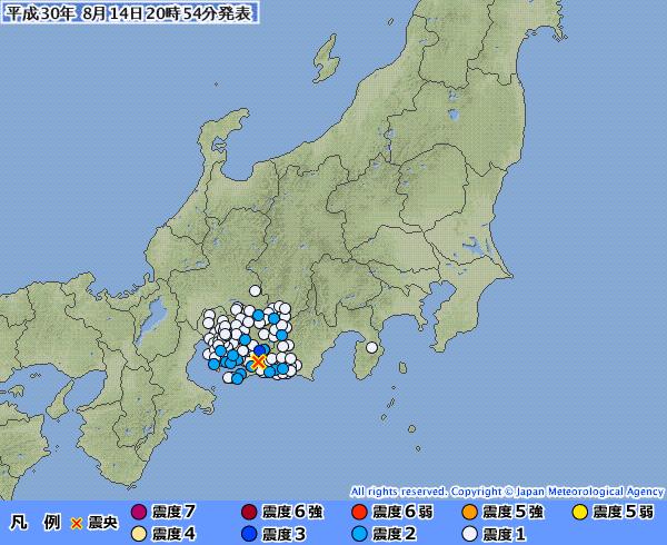 静岡県で最大震度3の地震発生 M3.9 震源地は静岡県西部 深さ約40km