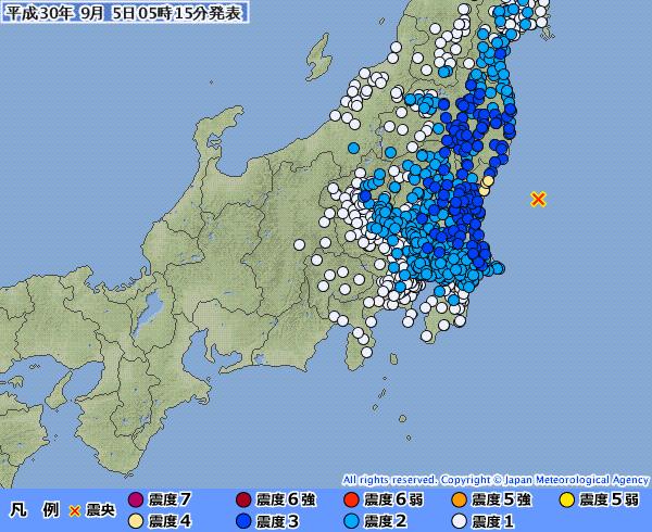 茨城県で最大震度4の地震発生 M5.6 震源地は茨城県沖 深さ約60km