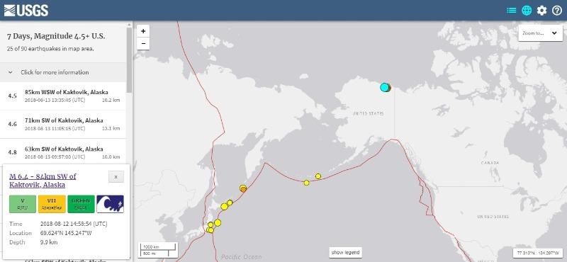 【海外】アラスカで「M6.4」の地震、中国で「M5.0」の地震発生
