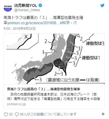 【地震本部】海溝型地震の発生確率をランク分けして発表…南海トラフは最高ランク「3」