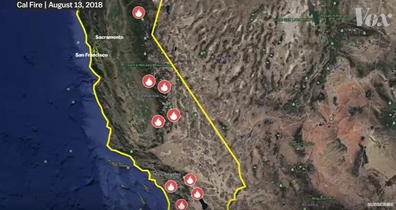 【アメリカ】カリフォルニアの「山火事」が現在もなお大炎上中…過去最大級規模での森林火災