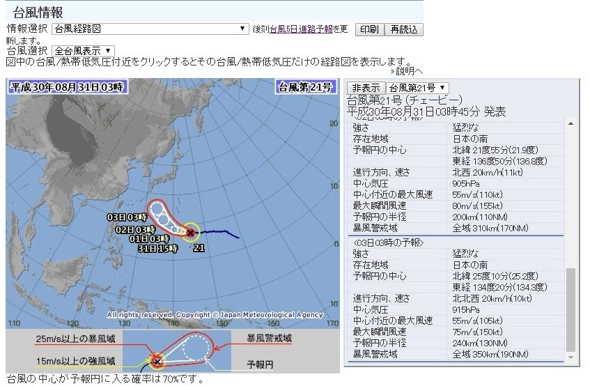 【災害】台風21号って伊勢湾台風並になるんじゃないの?3日の予報でも「915hPa」でこのままだと巨大台風だろ