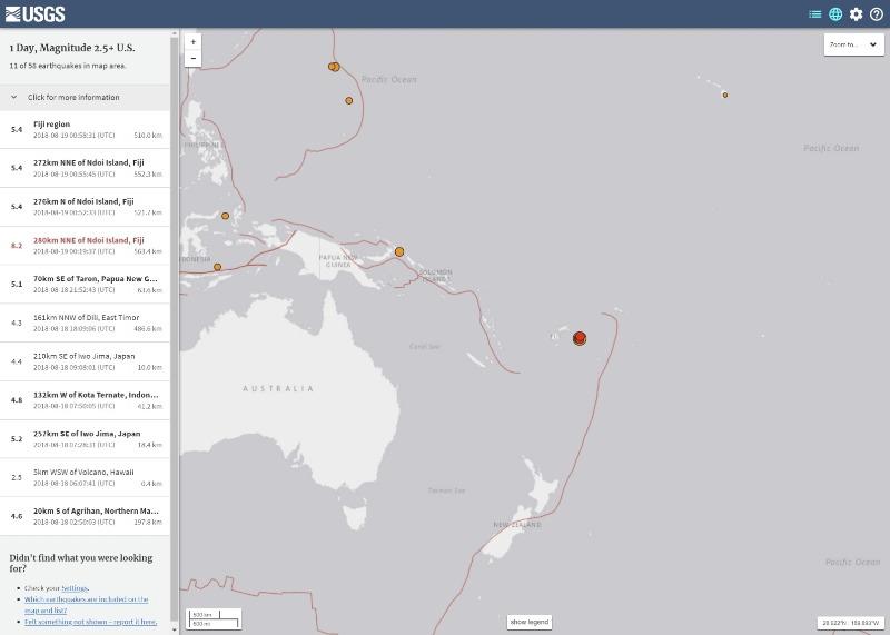 【深発地震】フィジー近海で「M8.2」の大地震発生…深さ約563.4km