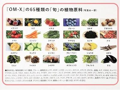 OM-Xの65種類の食材 パンフレットより