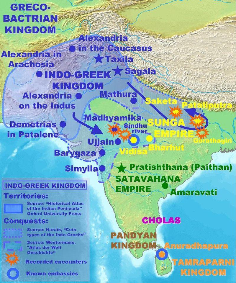 インド・グリーク朝の領域。