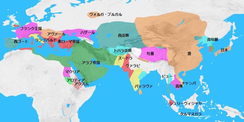 653年頃の世界地図