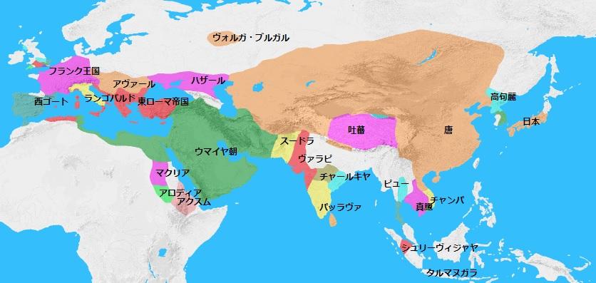 661年頃の世界地図
