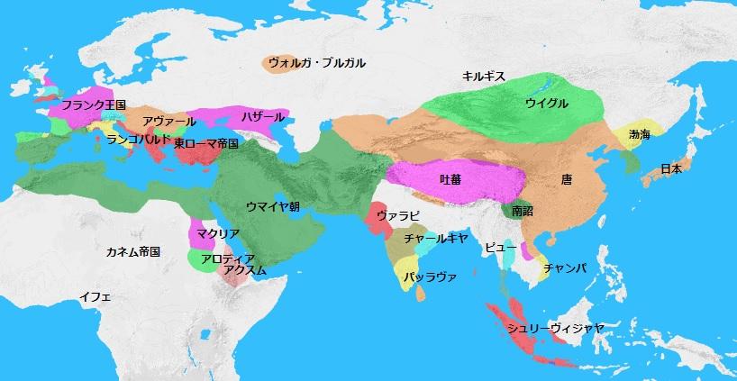 744年頃の世界地図