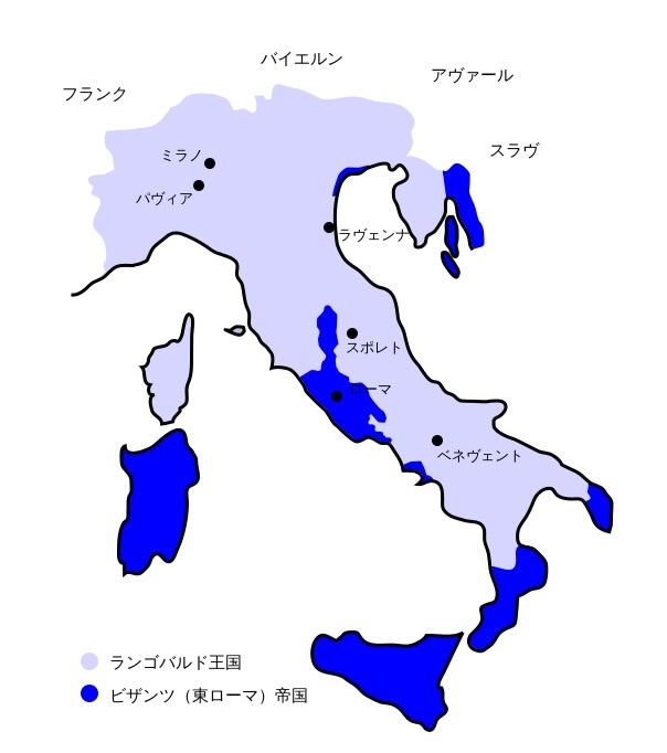 751年のランゴバルド王国の領域(水色)