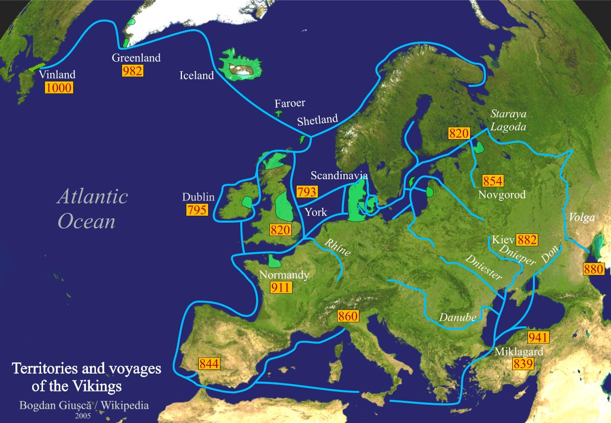ヴァイキングの航海 緑色はヴァイキングの居住地(植民地)、青線は経路、数字は到達年。