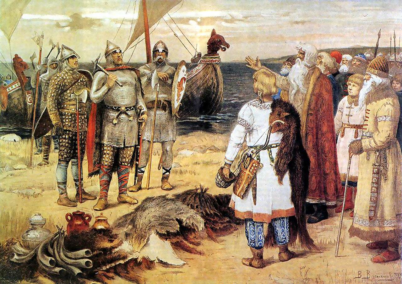 鎧に身を包み船に乗ってルーシの地を訪れたヴァリャーグたち。手前は現地のスラヴ人。