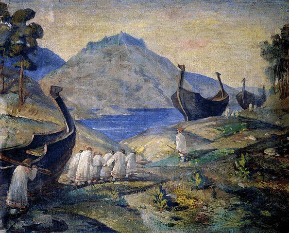 連水陸路を引きずられる船(ニコライ・リョーリフ・1915年)
