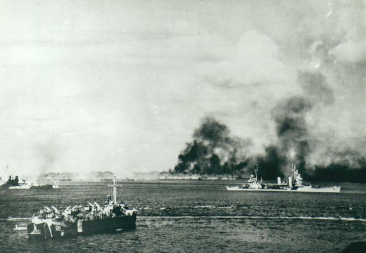 アメリカ海軍によるアンガウル島への上陸準備艦砲射撃