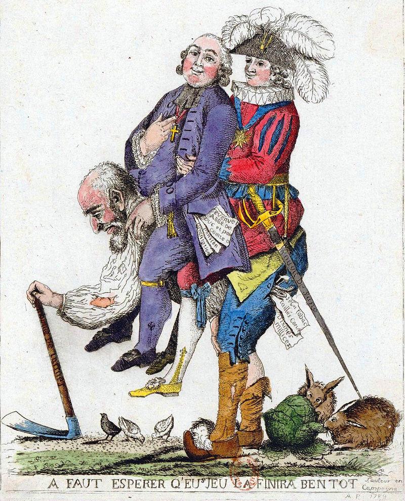 第一身分と第二身分を背中に背負う第三身分の風刺画