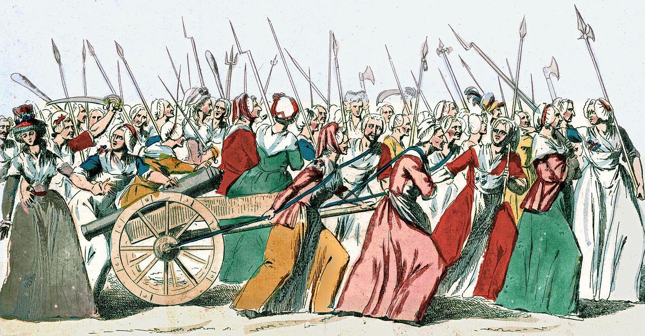 1789年10月5日ヴェルサイユ宮殿の女性の行進のイラスト