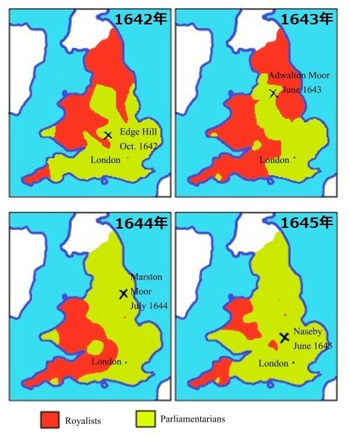 内戦勢力図。黄色は議会派、赤は王党派。