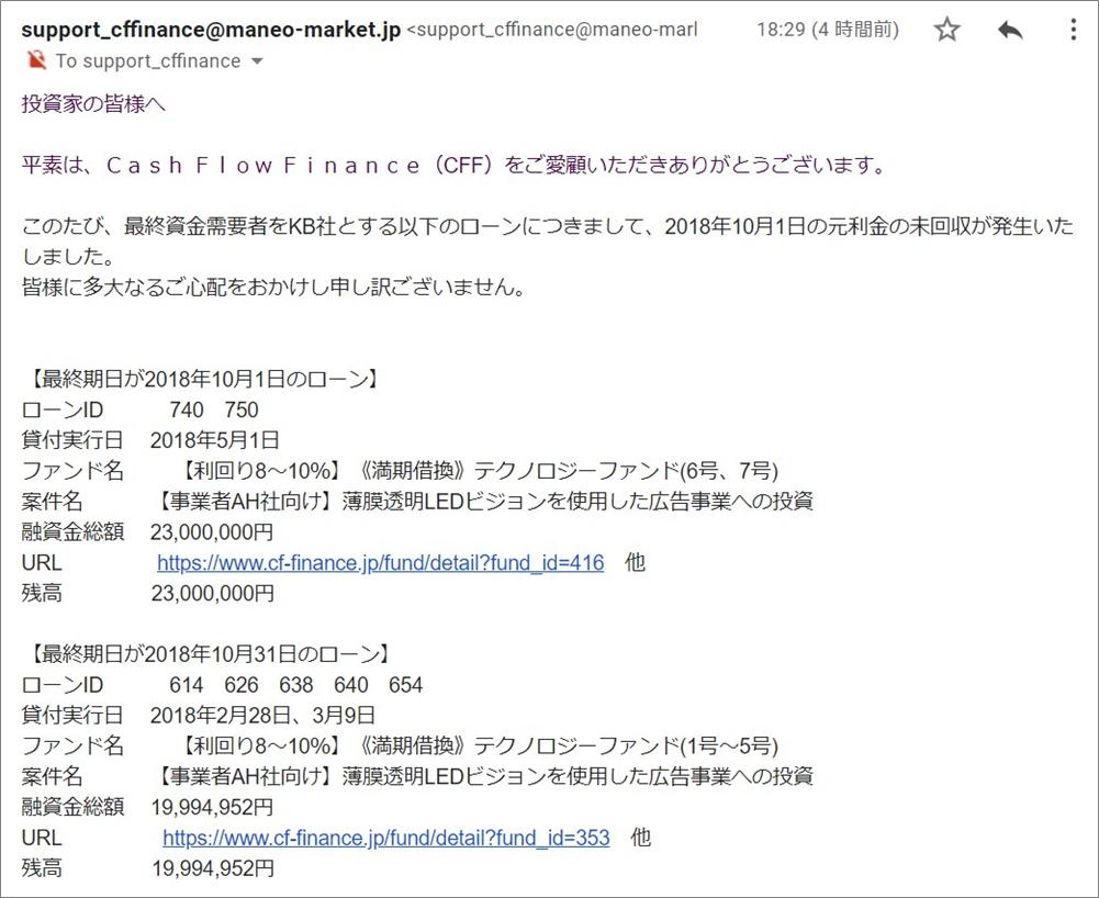 キャシュフローファイナンス21万円遅延!20181004.