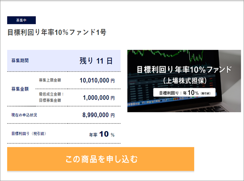 02_SAMURAI_目標利回り年率10%ファンド1号