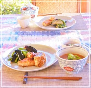 鮪生姜焼きで夕飯
