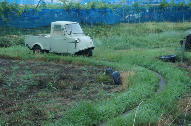 ミゼットと朝の農道のカーブ