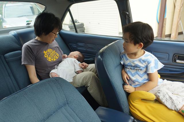 ルーチェに乗ったカミさんと子供