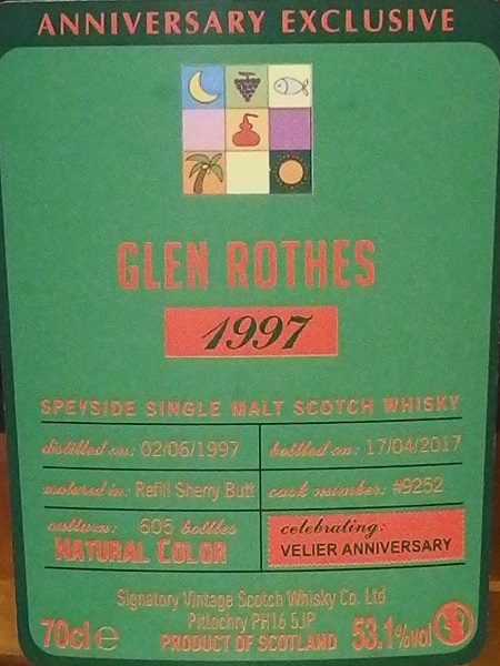 SIGNATORY GLENROTHES 1997 20yo VELIER 70th_L600