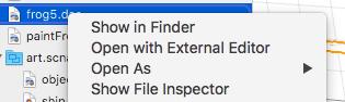 XcodeのShow in Finder