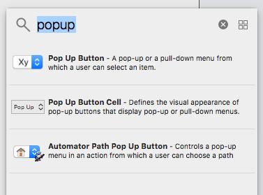 Xcode10の部品選択画面