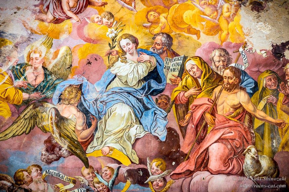 ビチナ宮殿(Pałac w Bycinie) フレスコ画 聖母マリアとナザレのヨセフ