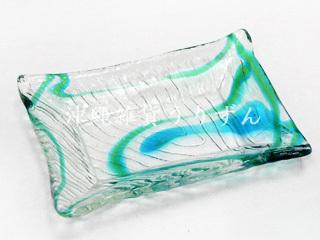 琉球ガラスの角皿さざなみ角皿コーラルエメラルド
