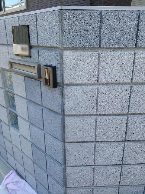 ブロック塀の傷補修