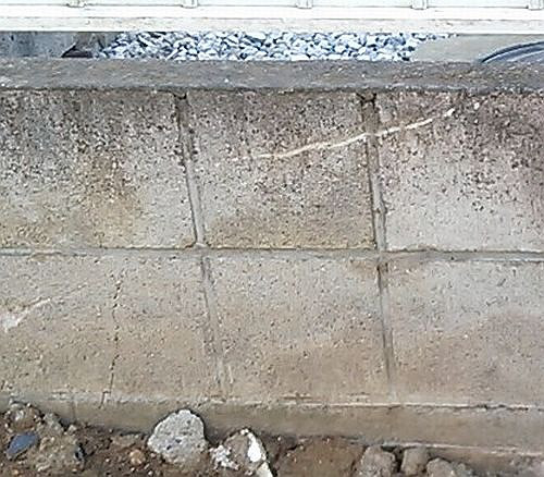 コンクリブロック塀の傷修理・美装