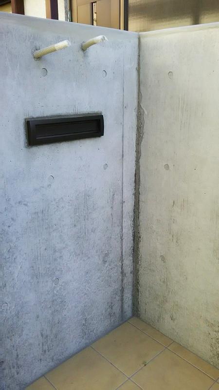 リフォーム工事の擁壁(コンクリ塀)色ムラなどの補修美装