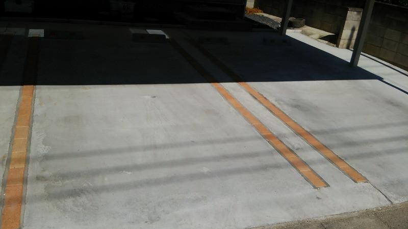 コンクリート土間駐車場の色むら塗装