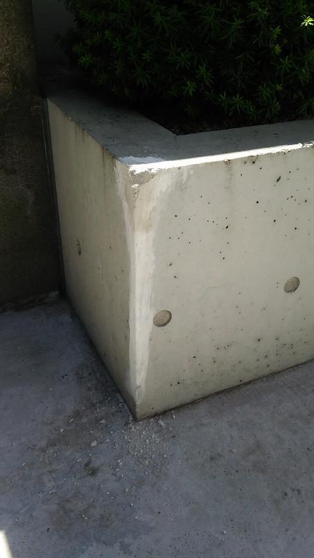 コンクリート花壇の角欠け修理