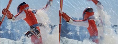 戦隊ヒーロー、ボウケンジャーのボウケンレッドが雪上でヤラレる