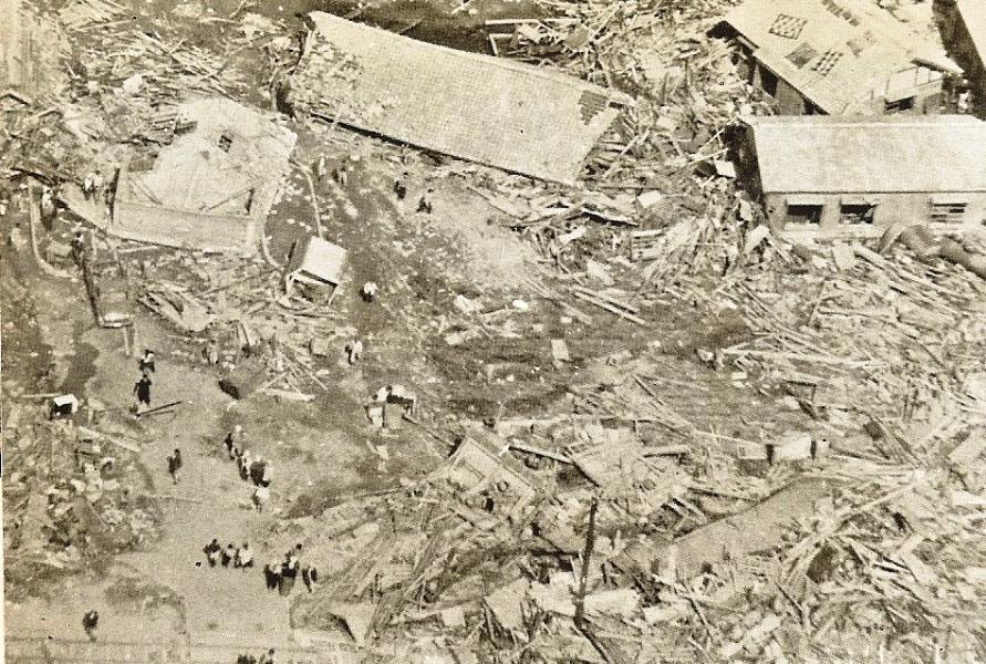 チリ津波に襲われた大船渡市
