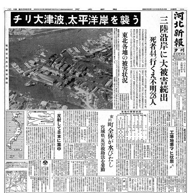 河北新報 チリ津波