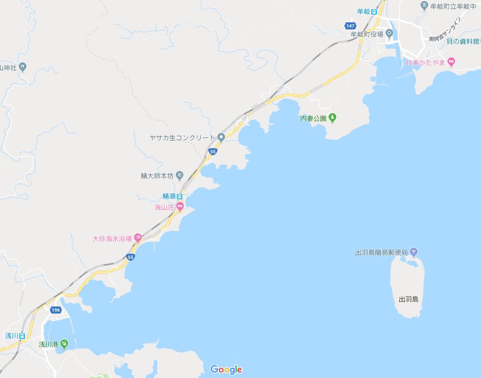 徳島県海陽町浅川と牟岐町