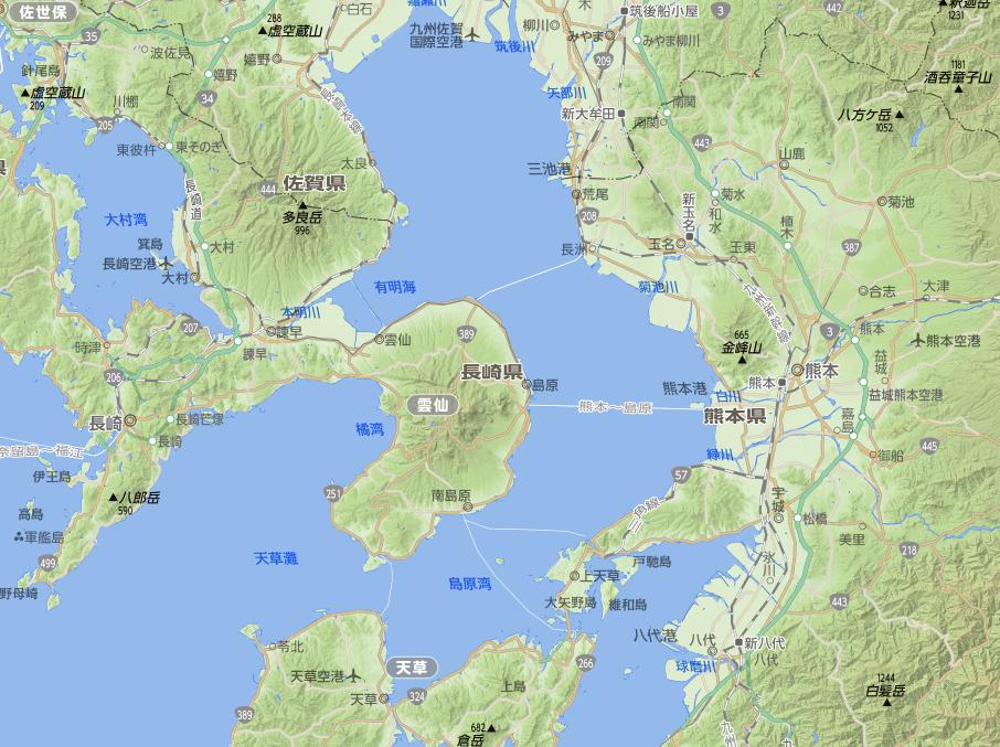 雲仙岳と有明海・島原湾
