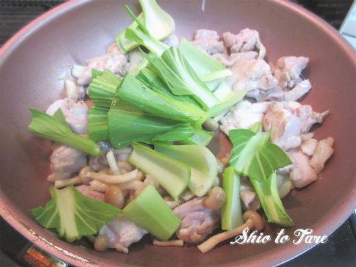 IMG_7966_20180916_02_なんちゃって鶏肉と青梗菜の塩あんかけ炒め