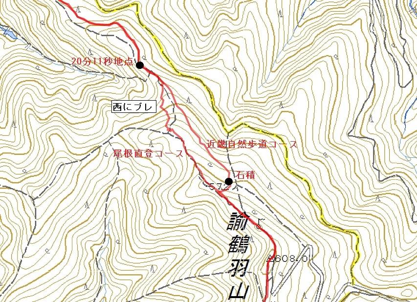 尾根直登コースと、近畿自然歩道コース