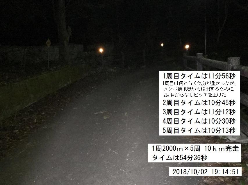 2018年10月2日の晩の駆け足