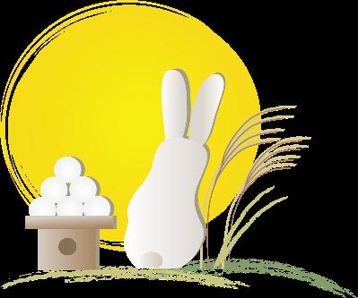 ウサギと月