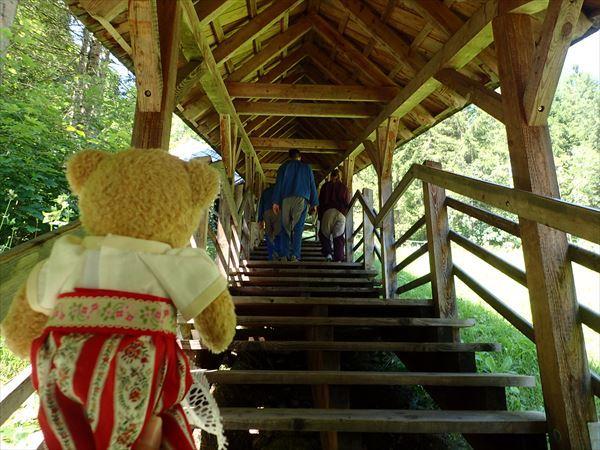 入口までの木の階段