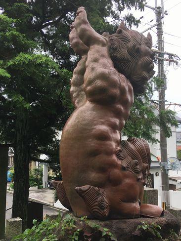 宗忠神社・逆立ち狛犬(阿形)_H30.06.15撮影